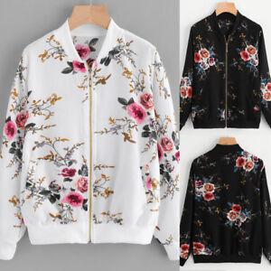bca02fc02e08 Womens Retro Floral Printing Tops Zipper Up Bomber Jacket Casual ...