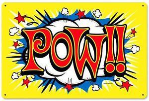 Image Is Loading Vintage Retro Comic Book Pow Batman Metal Sign