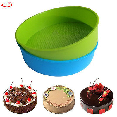 """8"""" Round Silicone Cake Mold Pan Muffin Bread Pizza Pastry Baking Tray Mould Tool"""