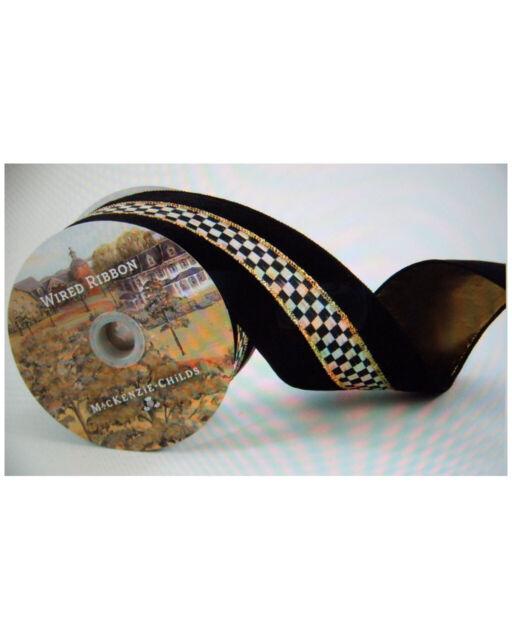 "Mackenzie Childs 3/"" Wide TUXEDO Ribbon w// COURTLY CHECK 10yd Spool NEW $68 m19-n"