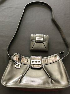 Brighton-Shoulder-Bag-Hobo-Purse-Black-LEATHER-CROC-EMBOSSED-W-Change-Purse