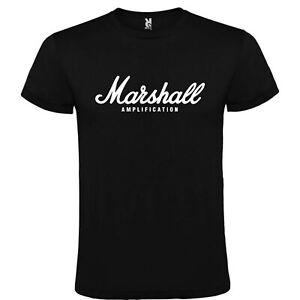T-Shirt-Roly-Noire-Marshall-Amplification-Tailles-S-M-L-XL-XXL-XXXL-100-Coton