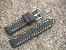 Grano de carbono 22mm Negro Reloj Correa de cuero con hebilla de cromo Costura Amarillo