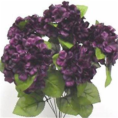 21 in EGGPLANT Satin Hydrangea Bush Silk Flowers Artificial Wedding Arrangements