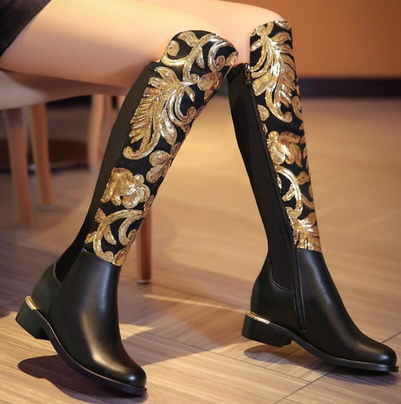 Womens Knight Boots Riding Punk Leather Block Heels Round Toe Knee High Boots sz