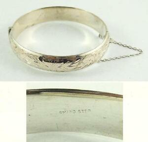 sterling item silver full design hinged chain etched safety bracelet bangle bangles