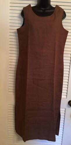 Womens Williwear Brown 100% Linen Sleeveless Dress