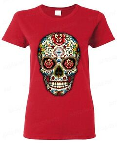 89fd2476 Sugar Skull Red Roses Women's T-Shirt Day of the Dead Dia De Los ...
