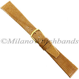 18mm-Gilden-Honey-Genuine-Lizard-Flat-Unstitched-Tapered-Mens-Watch-Band-Regular