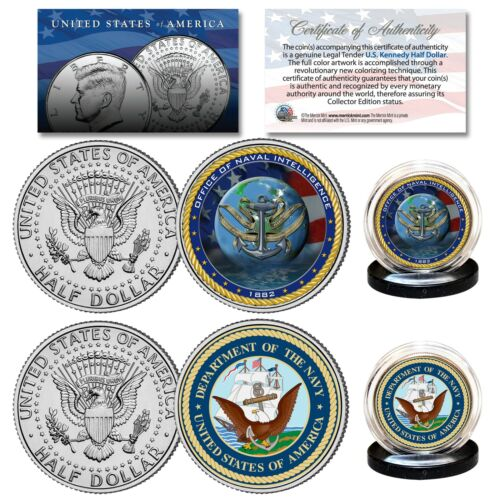 Set NAVY /& USN INTELLIGENCE Branch JFK Half Dollar Military 2-Coin U.S