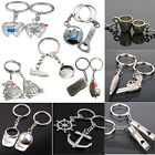 Charming 2pcs Alloy Creative Styles Keyring Key Chain Keyfob Lovers Couples Gift