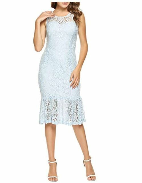 b4e61a556d5 ANGVNS Women s Floral Lace Dress Sleeveless Bodycon Cocktail Party Dress  Blue LG