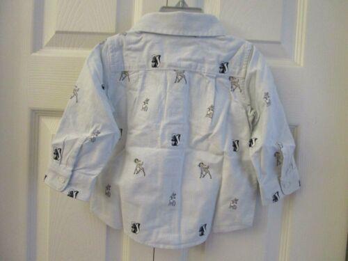 NWT Baby Gap Disney Bambi Thumper Collared Button Down Shirt Blue Cotton Oxford