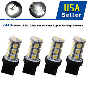 4x-Pure-White-7440-T20-7441-992-5050-18-SMD-Backup-Reverse-LED-Light-Bulbs-6000K