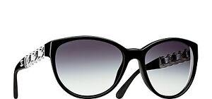 516bd62dbb NEW CHANEL 5215-Q 501 3C Black White BUTTERFLY CHAIN Sunglasses W ...