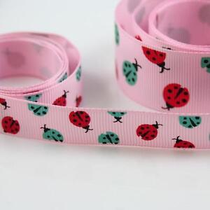 PINK-WITH-LADYBIRDS-GROSGRAIN-RIBBON-10-16-25mm-RED-BLUE-PATTERN-BOOK-CARDMAKING