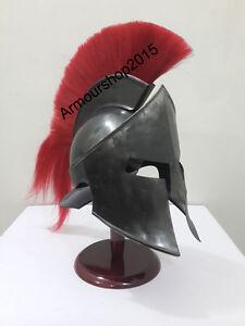 300 SPARTAN KING LEONIDAS HELMET MEDIEVAL ARMOR HELMET WITH RED PLUM