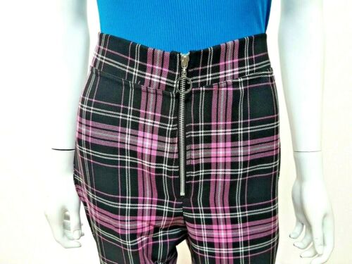 NUOVO 2019 Look Taglie Forti Tartan Check vita alta su misura in tessuto con cerniera anteriore Pantaloni