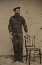 1860s CIVIL WAR UNION NAVY SAILOR / TAR TINTYPE PHOTOGRAPH / PHOTO IN UNIFORM