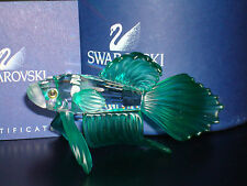 Swarovski Crystal Siamese Green Fighting Fish Object Figurine NEW RETIRED 261259