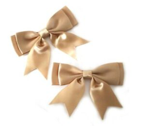 Beige-Tan-Large-25mm-Satin-Ribbon-Ready-Made-Craft-Double-Bows-Pack-of-5