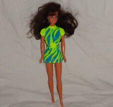Barbie 1997 Teresa Movin Groovin in Green and Blue Dress Brown Hair Earrings