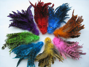 """4 Packs 200 PC Rooster Saddle Hackle Grizzly Schlappen Feathers 4 Fly Tying-5-7"""""""
