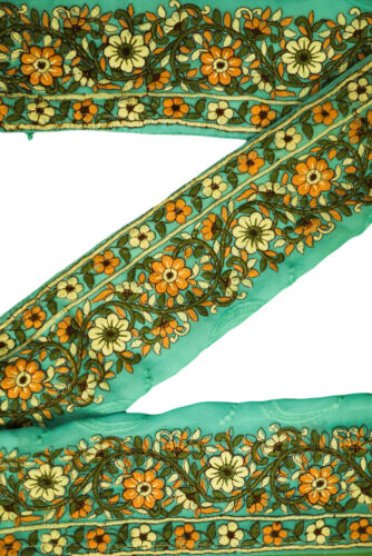Vintage Antique Border Decorative Sari Trim Embroidered Ribbon ST1581 1 Yard