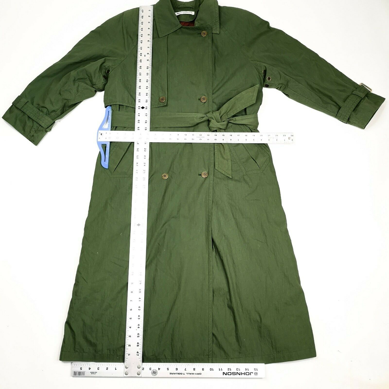 MISTY HARBOR Trench Coat Jacket 8 Olive Green - image 5