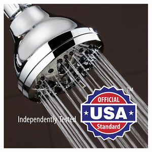AquaDance Chrome High-Pressure 6 Setting Spiral Shower Head, Angle Adjustable