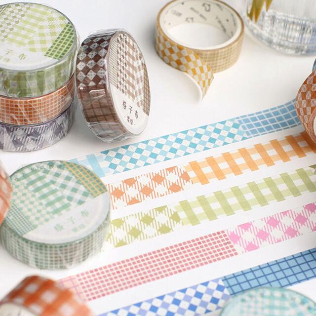 GI- BH_ Qu_ GT- Plaid Pattern DIY Adhesive Masking Washi Tape Scrapbooking Diary
