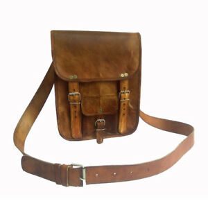 Goat Leather Messenger Briefcase Laptop Men Handbag Shoulder S Bag Brown New
