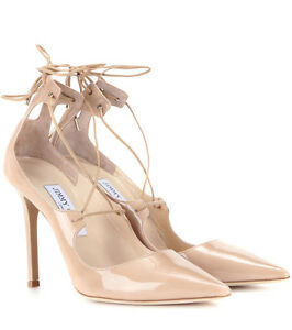 e4d8389ff3b5 Details about Jimmy Choo Vita 100 Nude Patent Leather Pump Pointy Toe Lace  Up Shoe 40 -9