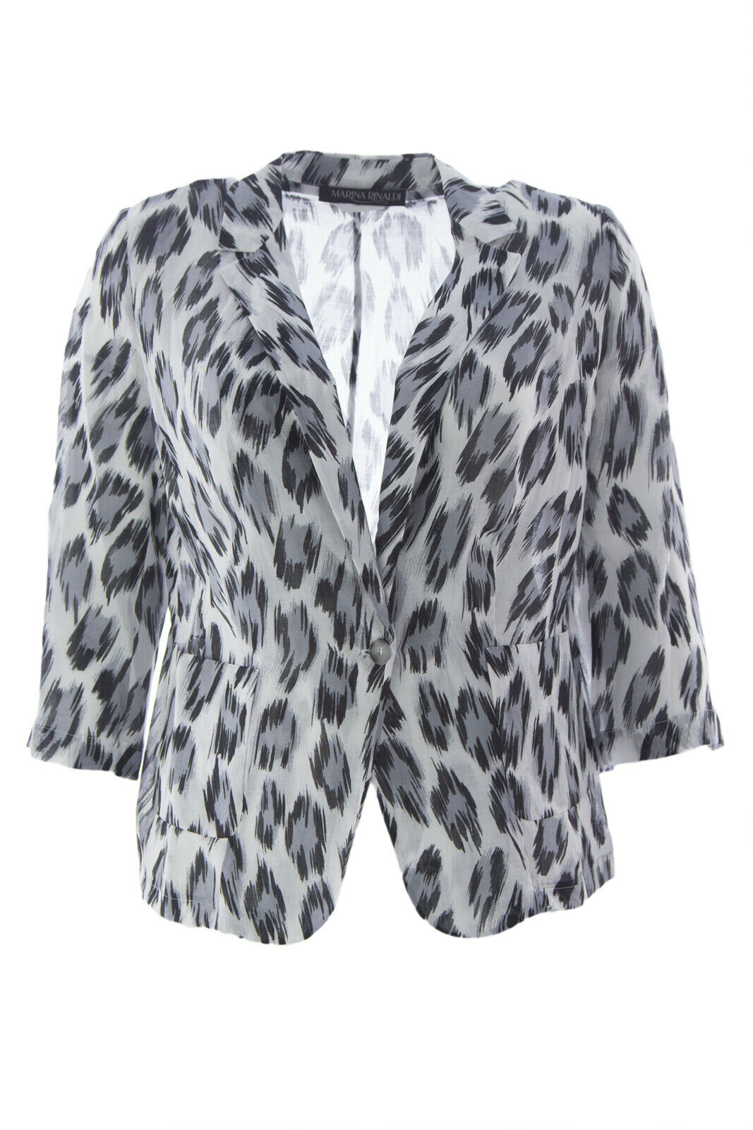 Marina Rinaldi Damen Weiß Crema Leopardenmuster Licht Blazer Nwt