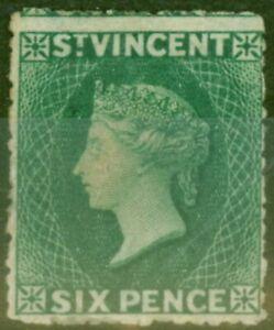 St Vincent 1873 6d Dull Bleu Vert SG19 Ave MTD Excellent État Scarce