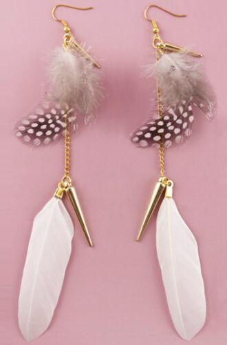FJ294 Feather Earrings 12 Colors Golden Accessory Chain Light Dangle Eardrop New