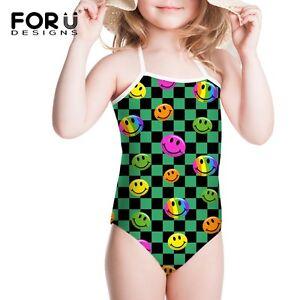 Smile Face Kids Swimwear Girls Swimsuit Children Swimming Costume