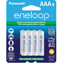 Panasonic Eneloop AAA 8 Pack Pre-Charged Rechargable Batteries up to 800mAH NEW