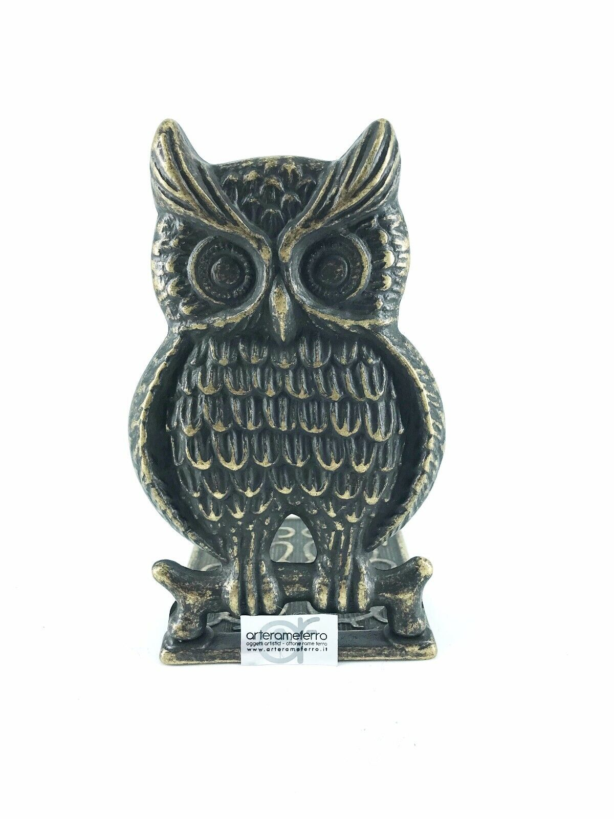 Bookend Brass Antique Shaped like Owl for Bookcase Library