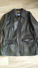 100% Leather coat, fully lined, dark green, Size 10, EU42-44