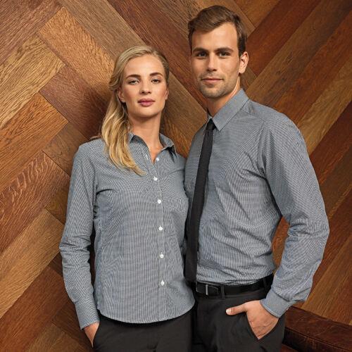 -Bar Restaurant PR320 Premier Ladies Microcheck Gingham Long Sleeve Cotton Shirt