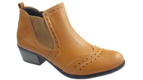 Damas Chelsea Brogue Botas Zapatos Taco de Bloque Oficina Inteligente Bronceado Talla 3-8
