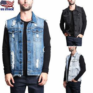 Men-Ripped-Denim-Vest-Sleeveless-Jacket-Jean-Coats-Collar-Biker-Outwear-Tops-USA