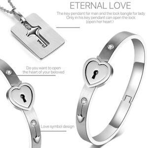 Couple Titanium Steel Lock Bangle Bracelet & Key Pendant Necklace Love Set Hot