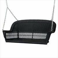 Jeco Resin Wicker Porch Swing In Black Transitional Outdoor Glider And on sale
