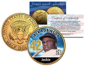 JACKIE-ROBINSON-Baseball-Legends-JFK-Half-Dollar-24K-Gold-Plated-U-S-Coin