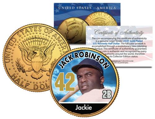 Coin JACKIE ROBINSON ** Baseball Legends ** JFK Half Dollar 24K Gold Plated U.S
