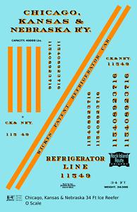 K4-O-Decals-Chicago-Kansas-amp-Nebraska-34-Ft-Ice-Reefer-Black-Orange-Rock-Island