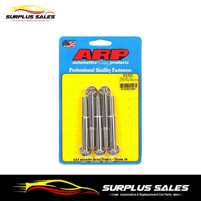 613-3000   ARP 3/8 in. Stainless Steel Bolts 3.000 in. UHL  Set of 5