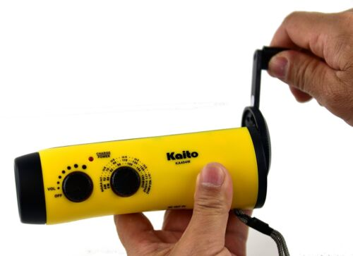 Kaito KA404W Hand Crank5-LED Flashlight with AM FM NOAA Weather Radio Yellow